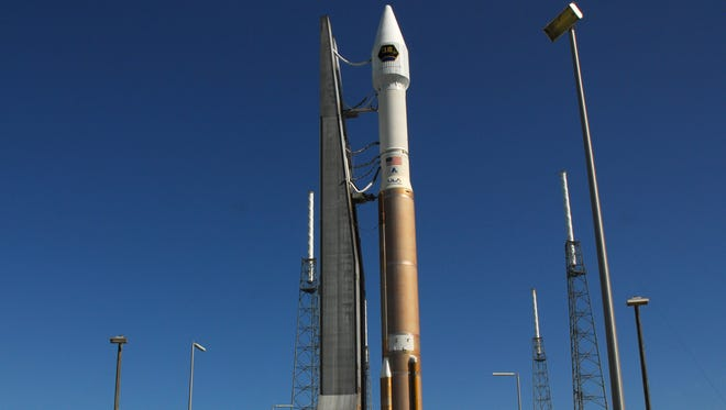 A United Launch Alliance Atlas V rocket set to launch the CLIO mission, a classified payload for Lockheed Martin, makes its way to Launch Pad 41 Monday morning from the VIF (Vertical Integration Facility). The rocket travels at an average speed of three miles an hour for the 25 minute trip to the pad.