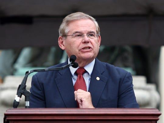 U.S. Sen. Robert Menendez speaks at Steven Fulop's mayoral inauguration in Jersey City on July 1, 2013. (Governor's Office/Tim Larsen)