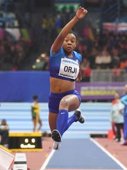 Keturah Orji places fifth in the triple jump at worlds.