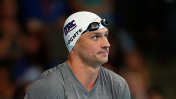 Ryan Lochte prepares to swim the men's 200 individual medley preliminary heats in the U.S. Olympic swimming team trials at CenturyLink Center.