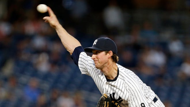 New York Yankees starting pitcher Bryan Mitchell delivers a pitch during the first inning of a baseball game against the Toronto Blue Jays on Wednesday, Sept. 7, 2016, in New York.