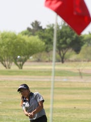 Lady Cat Dasia Jaramillo lofted her chip shot on the
