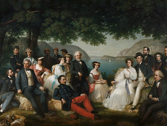 ca. 1863 --- Picnic on the Hudson by Thomas Prichard