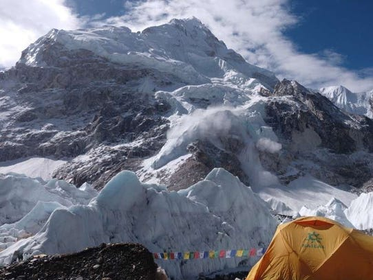 View from base camp as John Quillen and Neal Kushwaha prepare for the start of their Mount Everest climb.