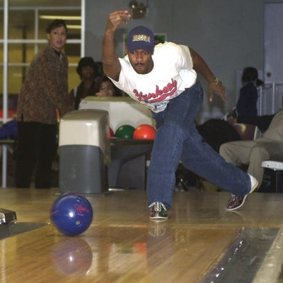 Fred Malcolm uses great form when bowling in 2000 at