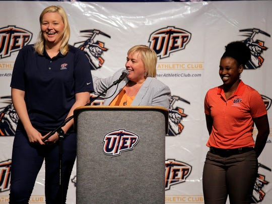 UTEP coach Keitha Adams and assistant coach Kelli Willingham