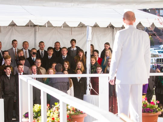 Henry B. Eyring, first counselor in the First Presidency of The Church of Jesus Christ of Latter-day Saints, watches as a local choir sings during the dedication ceremony for the Cedar Temple, Sunday, December 10, 2017.