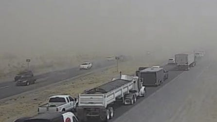 Traffic is at a crawl  at State Route 347 near Riggs Road because of a northbound crash and low visibility from blowing dust on July 6, 2018.