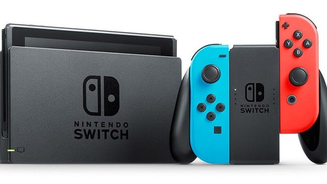 A promotional image of a Nintendo Switch in docked mode.