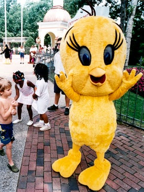 1993: Tweety Bird greets guests at Six Flags Great Adventure.