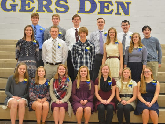 The Howards Grove National Honor Society chapter recently named 18 new members. Pictured are, front: Anika Herwig, Elizabeth Betke, Makenzie Schlafke, Sierra Wildman, Sarah Gardner, Rachel Richter and Jenna Olson; middle: Mattison Milz, Jack Peterson, Chase Williams, Hannah Morse and Kathryn Berg; back: Derek Stauss, Eric Reinemann, Donald Johnson III, Jacob Brunner, Ethan Frink and Johnathan Grunwald.