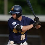 Cody Begovich of the Richmond RiverRats passes on a called strike during a baseball game against the Jamestown Jammers Tuesday, July 28, 2015, on John Cate Field at McBride Stadium in Richmond.