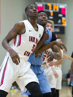 Park Tudor's Jaren Jackson (5) battles for position under the basket at Nike's Elite Youth Basketball League showcase at Jonathan Byrd's Fieldhouse at Grand Park in Westfield on April 23, 2016.