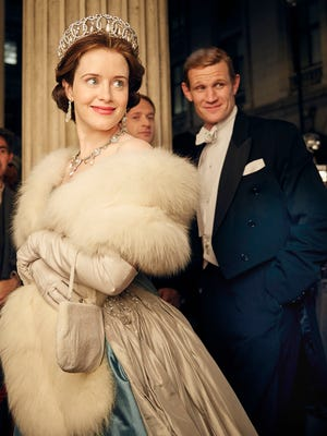 """Claire Foy (left) plays Queen Elizabeth II and Matt Smith plays her husband, Prince Philip in Netflix's """"The Crown,"""" which begins streaming Friday."""