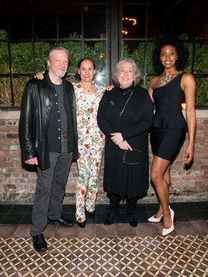 """NEW YORK, NY - APRIL 27: (L-R) Chris Cooper, Laurie Metcalf, Jayne Houdyshell and Condola Rashad attend the after party for Lucas Hnath's """"A Doll's House, Part 2"""" opening night starring Laurie Metcalf and Chris Cooper at Golden Theatre on April 27, 2017 in New York City.  (Photo by Noam Galai/Getty Images for """"A Doll's House, Part 2"""")"""