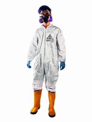 An Ebola Halloween costume includes a simulated hazmat suit and respirator.