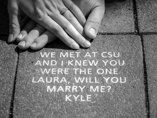 CSU alumni Kyle Griffin and Laura Krause got engaged,