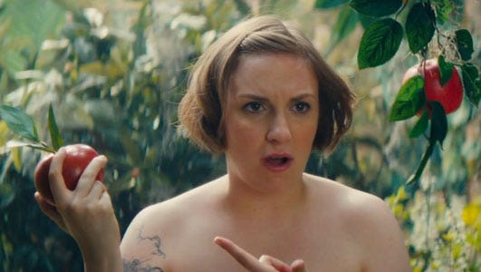 """Lena Dunham is au naturel an Adam and Eve spoof on the March 8 episode of """"SNL"""" on NBC."""