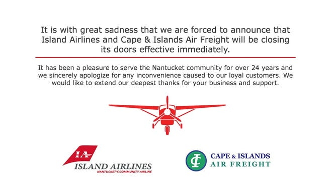 A screenshot of the Island Airlines website carries the company's shutdown announcement.