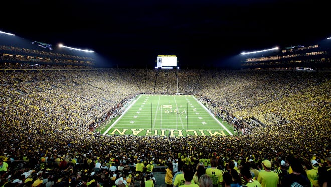 A view from Michigan Stadium during the first quarter of the Michigan and Notre Dame football game in September of 2011, which was the first ever night game under the lights.