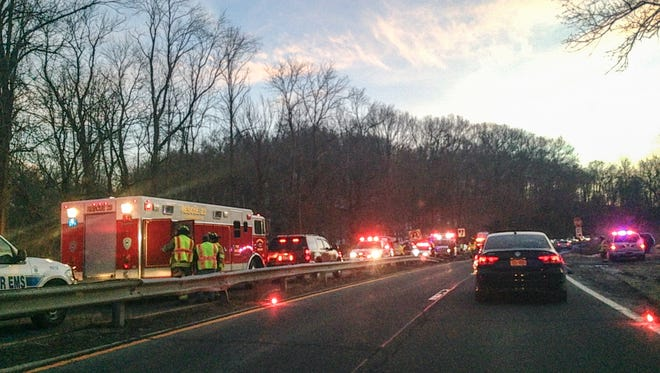 Scene of a 5-car crash on the southbound Saw Mill River Parkway in Mount Kisco, March 16, 2015.