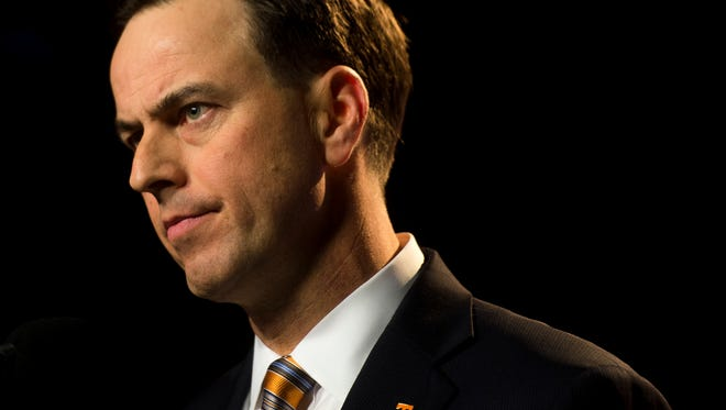 Tennessee Athletic Director John Currie speaks to the media following the firing of Butch Jones on Sunday, Nov. 12, 2017.
