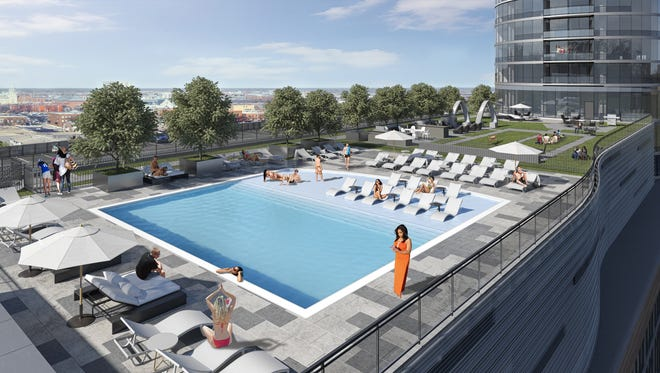 A new rendering released by Flaherty & Collins shows the fifth-floor pool at 360 Market Square.