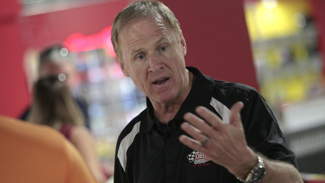 NASCAR legend Rusty Wallace talks about racing safety during his appearance at Pole Position Raceway in the Marketplace Mall in Henrietta.
