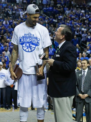 Kentucky's Willie Cauley-Stein laughs while being interviewed on stage Sunday afternoon after the Wildcats beat Arkansas in Nashville.  Cauley-Stein was named the SEC league's Defensive Player of the Year. By Matt Stone, The Courier-Journal March 15, 2015