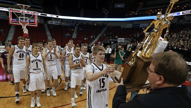 Western Christian ( Hull) is awarded the Class 2A championship trophy after the Wolfpack's win over West Fork ( Sheffield ) in the final at the 2014 State Boys' Basketball Tournament at Wells Fargo Arena on March 14, 2014. Western Christian starts its title defense Tuesday.