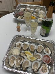 Oysters and a bottle of French sparkline wine from Frank's Louisiana Kitchen.