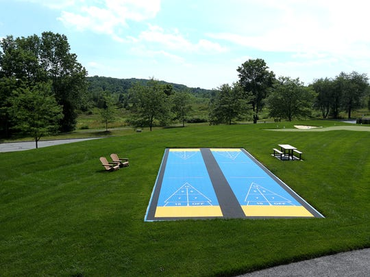 Shuffleboard courts at Bear Brook Valley, a new luxury rustic wedding venue in Fredon. ItÕs the second venue opened in recent years after the Rock Island Yacht Club in Sparta, to be created by Boonton Township residents Perry and Michele Bonadies. June 22, 2017. Fredon, NJ.