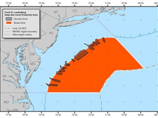 A area nearly the size of Pennsylvania protects deep sea Atlantic corals from bottom trawling. At the west and north the area includes 15 deep water canyons.