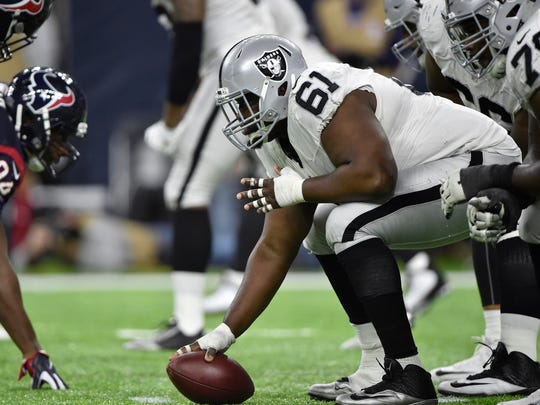 Since his return from injury, Rodney Hudson has started 60 of his past 64 games with the Oakland Raiders.