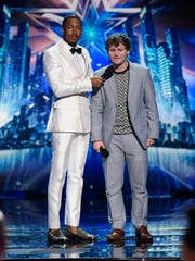 "Nick Cannon interviews Drew Lynch (right) on the finals of ""America's Got Talent."""
