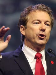 Republican Sen. Rand Paul speaks during the 145th NRA Convention inside Freedom Hall on Friday afternoon. May 20, 2016