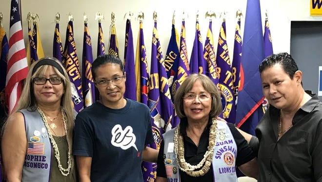 """The Guam Sunshine Lions Club serves the community by """"Caring for the Sick and the Elderly.""""  On March 20 at its general membership meeting made a monetary donation to Kala Taitague, 53, fourth from right, to help defray the expenses of her medical treatment.  Pictured from left: Lion Sophie Losongco, sponsor; Sheila Tyquiengco, and Lion Rosie Matsunaga, President."""
