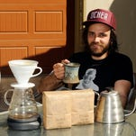 ?Greg Amend, owner of Slow Train Coffee Company, shows how to do pour-over coffee.