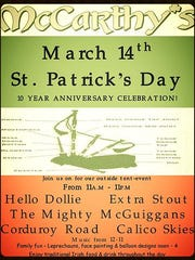 McCarthy's in downtown Port Clinton will be celebrating St. Patrick's Day and its 10th anniversary on Saturday, March 14, with food, music, drinks and other entertainment from 11 a.m. to 11. p.m.