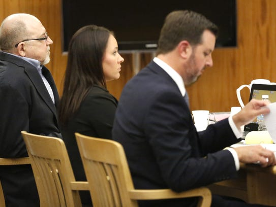 Dennis Brantner sits in a Fond du Lac County court room with attorneys Beth Van Engen and Craig Powell in June during jury selection for Brantner's 1990 murder trial for the slaying of Berit Beck.
