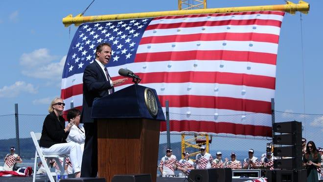 Gov. Andrew Cuomo speaks during opening ceremonies of the Gov. Mario M. Cuomo Bridge Aug. 24, 2017.