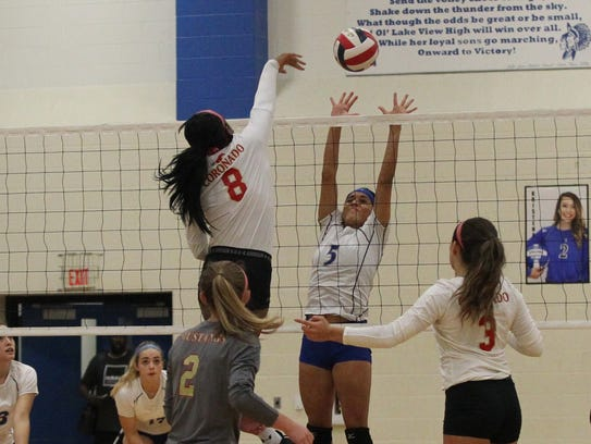 Lake View's Veronica Diaz (5) goes up for a block against