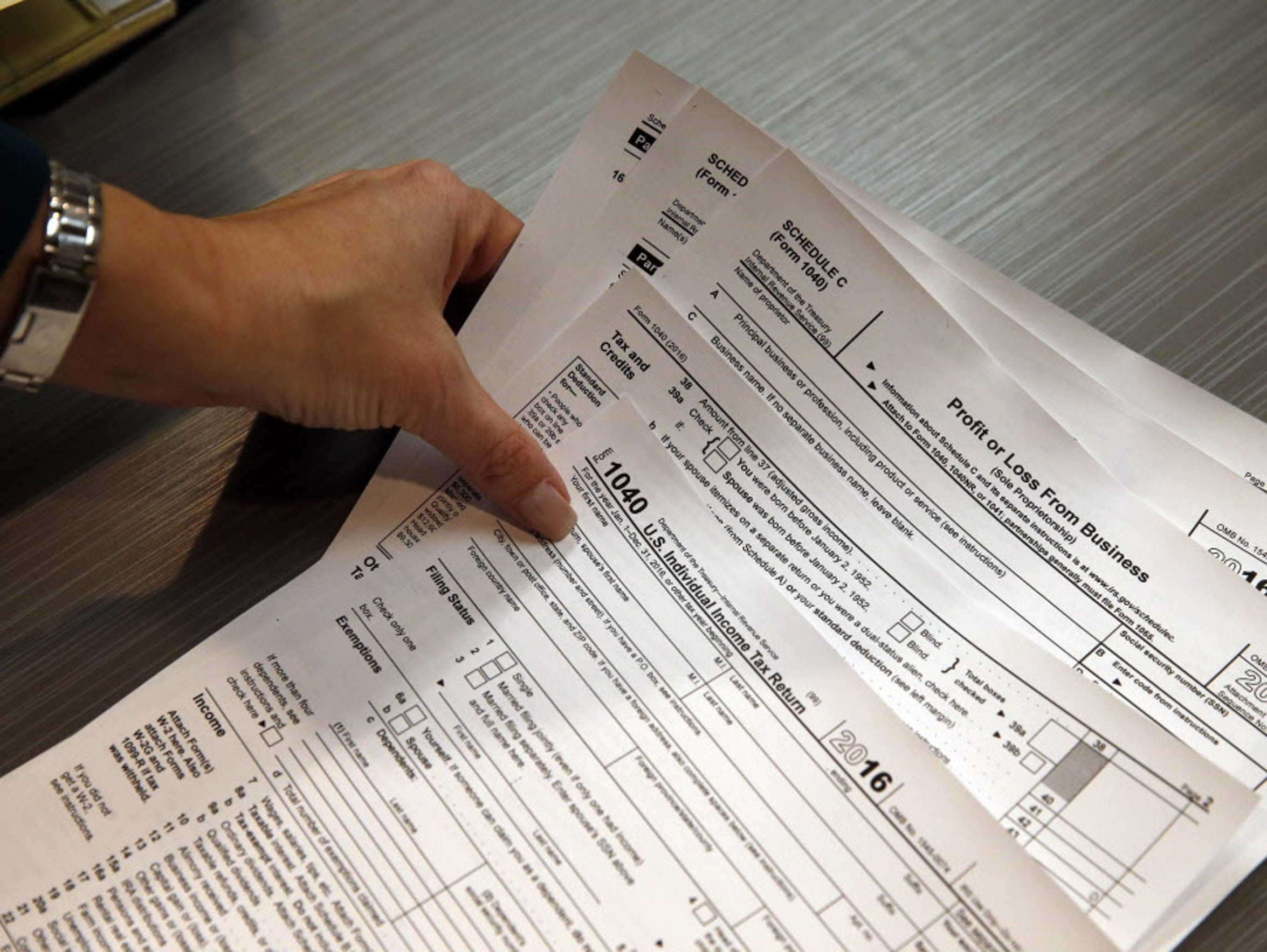 Income tax forms used this year.