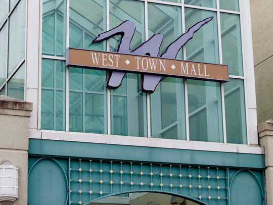 The exterior entrance to West Town Mall in West Knoxville, Tennessee.