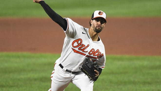 Baltimore Orioles relief pitcher Jorge Lopez delivers during the fifth inning of a baseball game against the Atlanta Braves, Monday, Sept. 14, 2020, in Baltimore.