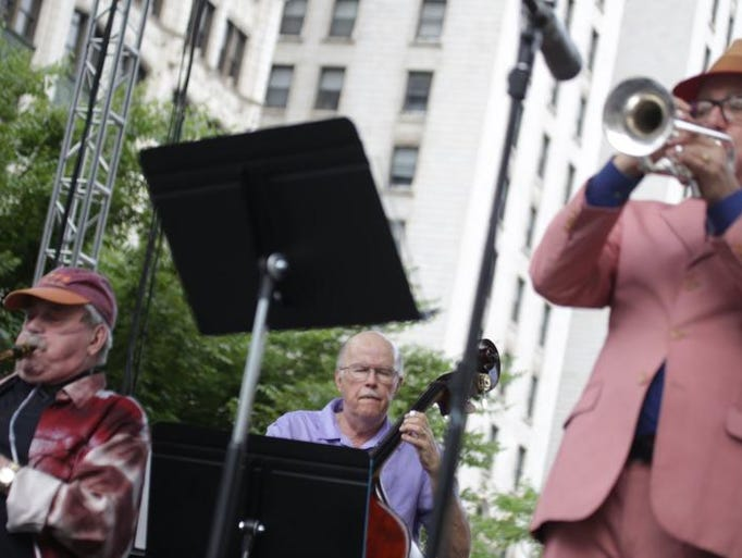 The Phil Woods Quintet performs on the JP Morgan Chase MainStage during the 35th Annual Detroit Jazz Festival in downtown Detroit on Saturday, Aug. 30, 2014.