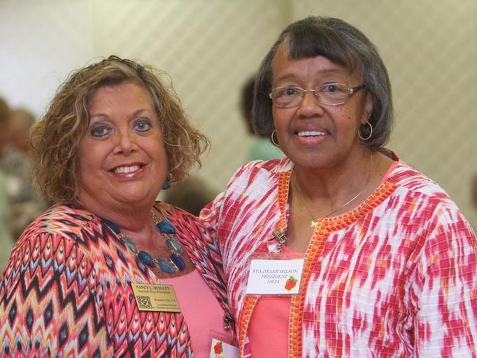 ON THE TOWN: Nancy Quigley and Eva Dyann Wilson, members of the Ouachita Retired Teachers Association, enjoy the annual barbecue luncheon at the Anna Gray Noe Alumni Center of the University of Louisiana at Monroe on Thursday, July 17, 2014.