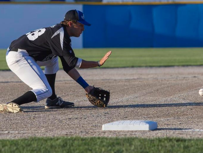 Alex Holley of HBC Behnke fields a ground ball in the NABF World Series Opening Game against Pittsburgh St. Johns.