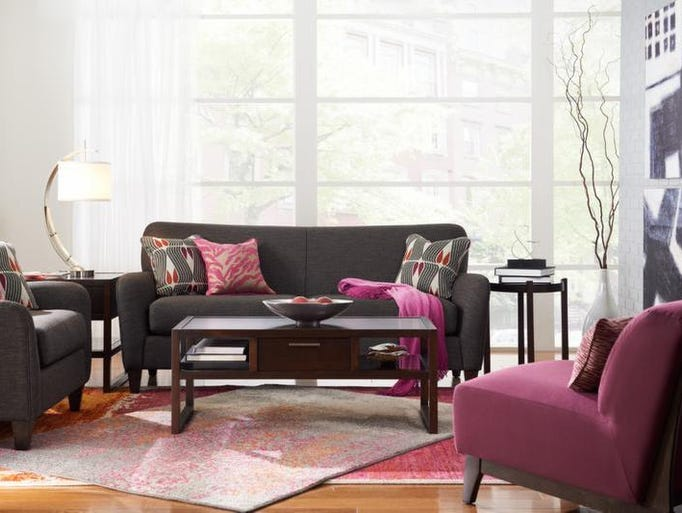 The design trend I am loving right now? Powerful pieces with a punch of color, in this case via the pillows and chair. Notice that the room has powerful color and texture without a lot of clutter. The Dolce sofa, part of the New Urban Attitudes line, starts at <b>$699.99</b> at La-Z-Boy in Cool Springs.