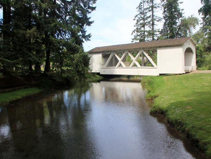The Jordan Covered Bridge is found at Pioneer Park in Stayton. It makes an attractive landmark and also serves as the beginning of a trail that connects Pioneer, Wilderness and Riverfront parks.